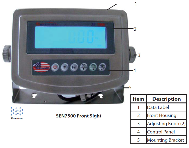 Weight indicator for bench scale 7500SS stainless steel